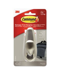 Command™ Adhesive Mount Metal Hook, Large, Brushed Nickel Finish, 1 Hook And 2 Strips/Pack