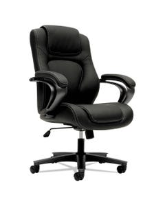 HON® Hvl402 Series Executive High-Back Chair, Supports Up To 250 Lbs., Black Seat/Black Back, Iron Gray Base