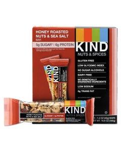KIND Nuts And Spices Bar, Honey Roasted Nuts/Sea Salt, 1.4 Oz Bar, 12/Box