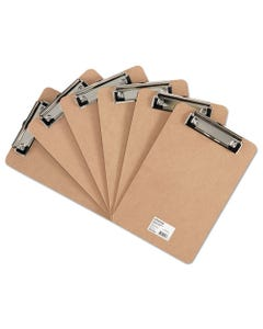 """Universal® Hardboard Clipboard With Low-Profile Clip, 1/2"""" Capacity, 6 X 9, Brown, 6/Pk"""