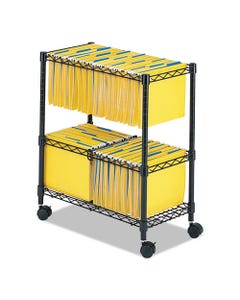 Safco® Two-Tier Rolling File Cart, 25.75W X 14D X 29.75H, Black