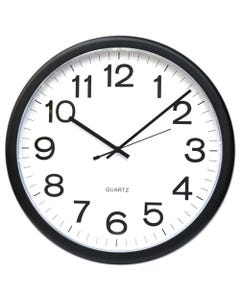 """Universal® Round Wall Clock, 13.5"""" Overall Diameter, Black Case, 1 Aa (Sold Separately)"""