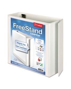 "Cardinal® Freestand Easy Open Locking Slant-D Ring Binder, 3 Rings, 4"" Capacity, 11 X 8.5, White"