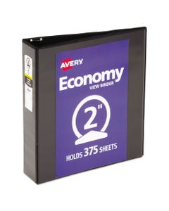 """Avery® Economy View Binder With Round Rings , 3 Rings, 2"""" Capacity, 11 X 8.5, Black, (5730)"""