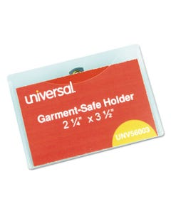 Universal® Clear Badge Holders W/Garment-Safe Clips, 2 1/4 X 3 1/2, White Inserts, 50/Box
