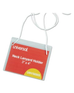 Universal® Clear Badge Holders W/Neck Lanyards, 3 X 4, White Inserts, 100/Box