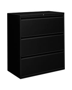 Alera® Three-Drawer Lateral File Cabinet, 36W X 18D X 39.5H, Black