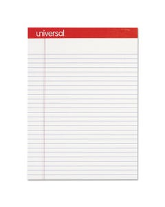 Universal® Perforated Writing Pads, Wide/Legal Rule, 8.5 X 11.75, White, 50 Sheets, Dozen