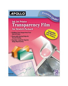 Apollo® Quick-Dry Color Inkjet Transparency Film W/Handling Strip, Letter, Clear, 50/Box