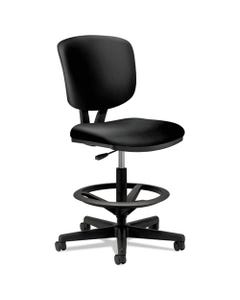 """HON® Volt Series Leather Adjustable Task Stool, 32.38"""" Seat Height, Supports Up To 275 Lbs., Black Seat/Black Back, Black Base"""