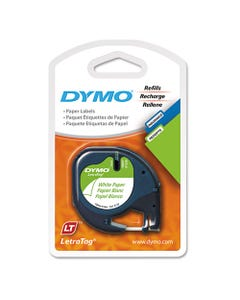 """DYMO® Letratag Paper Label Tape Cassettes, 0.5"""" X 13 Ft, White, 2/Pack"""