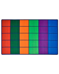 Colorful Rows Seating Rug - seats 25, 6' x 9' Rectangle