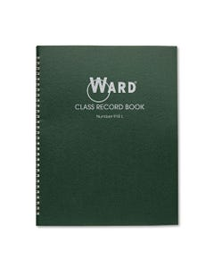 Ward® Class Record Book, 38 Students, 9-10 Week Grading, 11 X 8-1/2, Green
