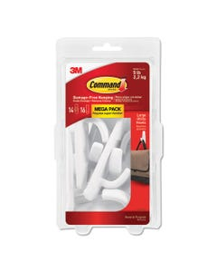 Command™ General Purpose Hooks, Large, 5 Lb Cap, White, 14 Hooks And 16 Strips/Pack