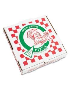 "PIZZA Box Corrugated Kraft Pizza Boxes, B-Flute, White, 14"" Pizza, 14W X 14D X 2 .5H, 50/Bundle"