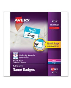 """Avery® Flexible Adhesive Name Badge Labels, """"Hello"""", 3 3/8 X 2 1/3, Assorted, 120/Pk"""