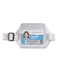 Advantus Horizontal Arm Badge Holder, 5.5 X 3.88, Clear/White. 12/Box