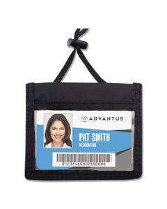 Advantus Id Badge Holder W/Convention Neck Pouch, Horizontal, 4 X 2 1/4, Black, 12/Pack