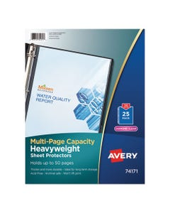 Avery® Multi-Page Top-Load Sheet Protectors, Heavy Gauge, Letter, Clear, 25/Pack