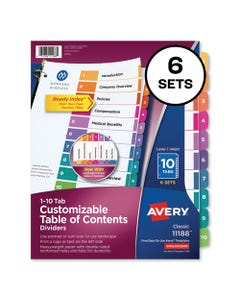 Avery® Customizable Toc Ready Index Multicolor Dividers, 10-Tab, Letter, 6 Sets