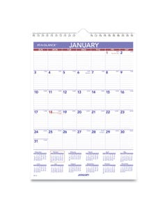 AT-A-GLANCE® Monthly Wall Calendar With Ruled Daily Blocks, 8 X 11, White, 2021