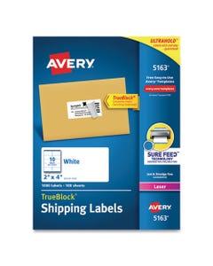 Avery® Shipping Labels W/ Trueblock Technology, Laser Printers, 2 X 4, White, 10/Sheet, 100 Sheets/Box