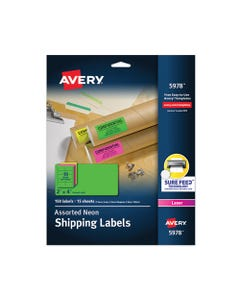 Avery® High-Visibility Permanent Laser Id Labels, 2 X 4, Asst. Neon, 150/Pack