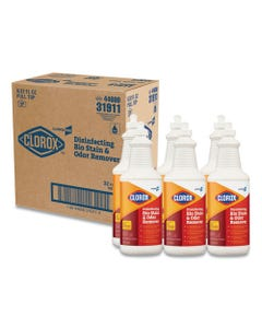 Clorox® Disinfecting Bio Stain And Odor Remover, Fragranced, 32 Oz Pull-Top Bottle, 6/Ct