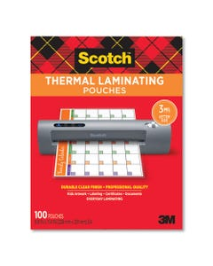 """Scotch™ Laminating Pouches, 3 Mil, 9"""" X 11.5"""", Gloss Clear, 100/Pack"""