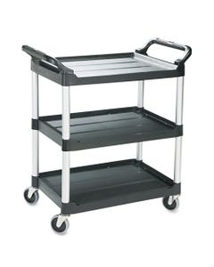 Economy Plastic Cart, Three-Shelf, 18-5/8w X 33-5/8d X 37-3/4h, Black