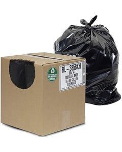 "Aluf Plastics 55 Gallon 1.5 MIL (eq) Black Heavy Duty Trash Can Liners  - 38"" x 58"" - Pack of 100"