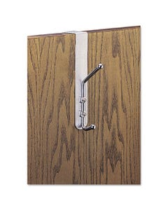 Safco® Over-The-Door Double Coat Hook, Chrome-Plated Steel, Satin Aluminum Base