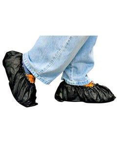 Black Shoe Covers, Polycoated Polypropylene, Skid Resistant, 75/CS