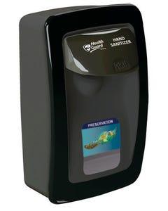 PRESERVATION Brand Designer Series Foam Wall Sanitizer Dispenser, Black, 'Health Guard' Handle Print, Manual, For 1000mL Refill Bags