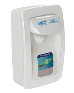 PRESERVATION Brand Designer Series Foam Wall Sanitizer Dispenser, White, 'Health Guard' Handle Print, Manual, For 1000mL Refill Bags