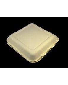 """Biodegradable Bagasse Hinged Container, 9""""x9""""x3"""", 3 Compartment, 300/CS"""