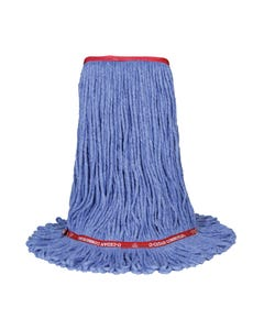 """PRESERVATION Brand Cotton/Synthetic Loop End Mop Head, Blue, 22OZ, 1"""" Head Bank, 4-Ply"""
