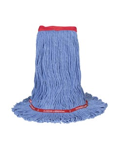 PRESERVATION Brand Rayon/Synthetic Loop-End Mop Head, Blue, Medium, 4-Ply